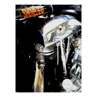 View of the Classic Shovelhead Harley Motor Poster