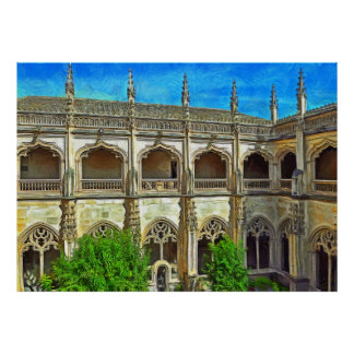 View of the cloister of the Cathedral of St. Mary Poster