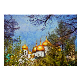 View of the dome of the cathedrals of the Kremlin Poster