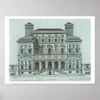 View of the facade of Villa Borghese, Rome (engrav Poster