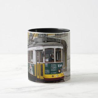 View of the famous yellow tramway at Lisbon Mug