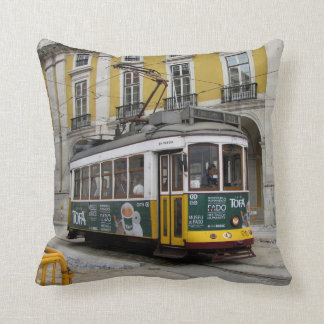 View of the famous yellow tramway at Lisbon Throw Pillow