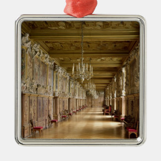 View of the Galerie Francois I, 1528-40 Silver-Colored Square Ornament