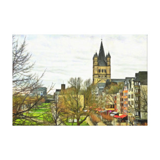 View of the Great St. Martin Church in Cologne. Canvas Print