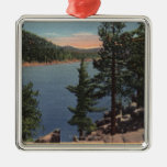 View of the Lake through the Pines Metal Ornament