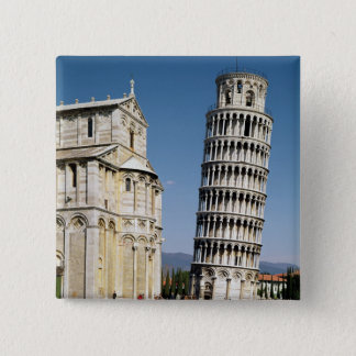 View of the Leaning Tower 2 Inch Square Button