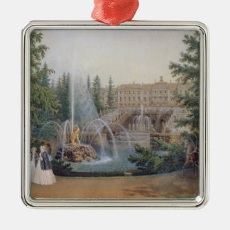 View of the Marly Cascade Silver-Colored Square Ornament