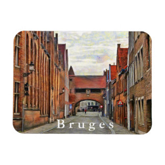 View of the medieval street in Bruges. Magnet