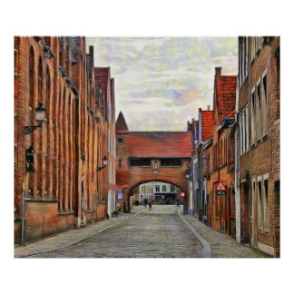 View of the medieval street in Bruges. Poster