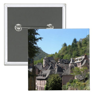 View of the medieval village (photo) 2 inch square button