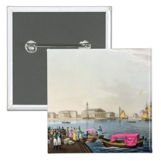 View of the Neva, the Harbour and the Exchange at 2 Inch Square Button