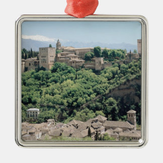 View of the Palace of the Alhambra Silver-Colored Square Ornament
