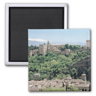 View of the Palace of the Alhambra Square Magnet