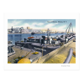 View of the Port of Albany, SS Iroquois in Postcard