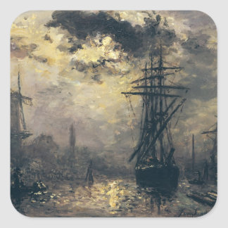 View of the Port, or The Windmills in Square Sticker