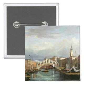 View of the Rialto Bridge in Venice 2 Inch Square Button