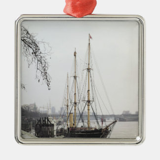 View of the River Thames with RRS Discovery Silver-Colored Square Ornament