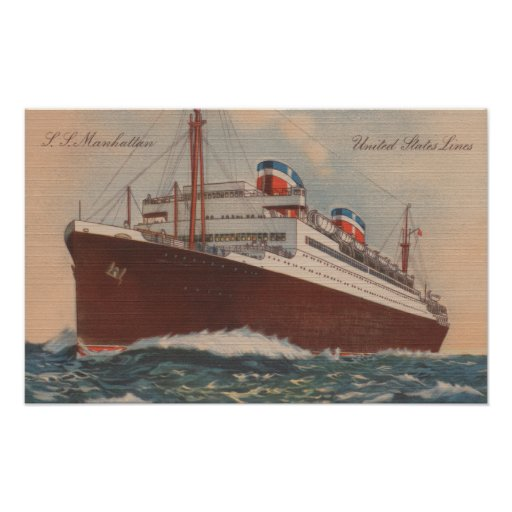 View of the S.S. Manhattan Cunard Cruise Ship Posters