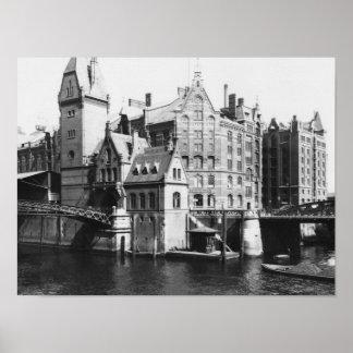 View of the Speicherstadt  Hamburg, c.1910 Poster