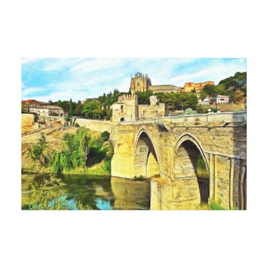 View of the St. Martin Bridge in Toledo. Canvas Print