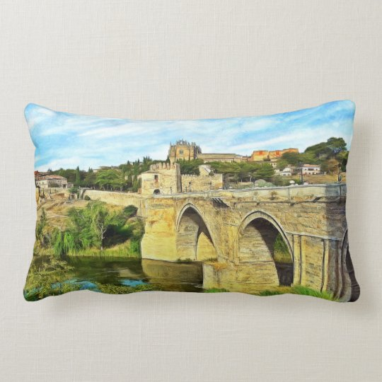 View of the St. Martin Bridge in Toledo. Lumbar Pillow