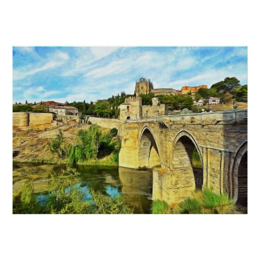 View of the St. Martin Bridge in Toledo. Poster