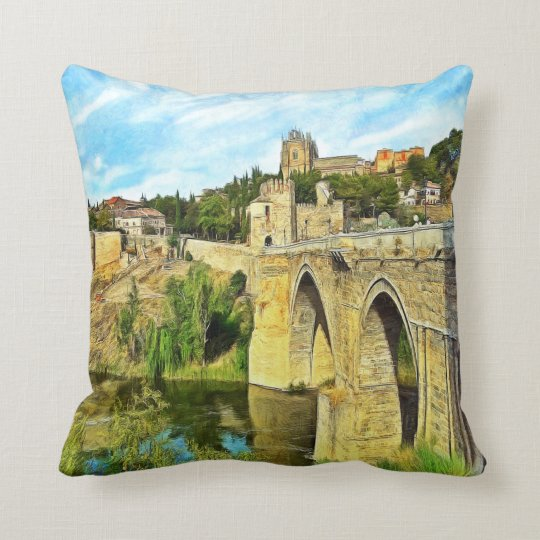 View of the St. Martin Bridge in Toledo. Throw Pillow