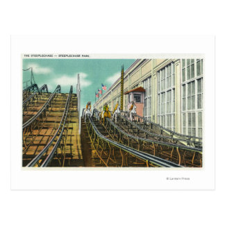 View of the Steeplechase Rollercoaster Postcard