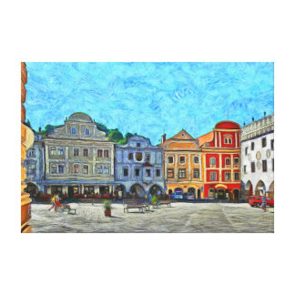 View of the town square in Krumlov. Canvas Print