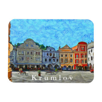 View of the town square in Krumlov. Magnet