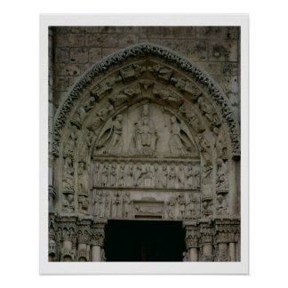 View of the tympanum depicting the Madonna and Chi Poster