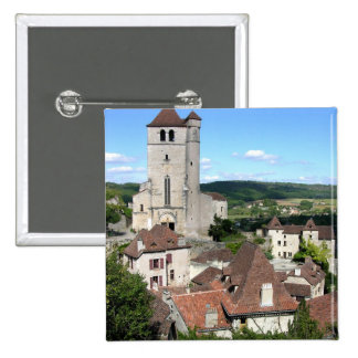 View of the village and the church (photo) 2 inch square button