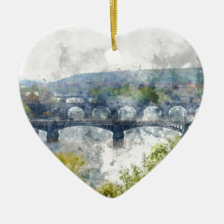 View of the Vltava River and the bridges, Prague, Ceramic Heart Ornament