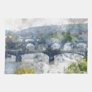 View of the Vltava River and the bridges, Prague, Towels