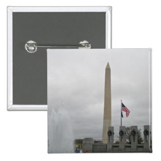 View of the Washington Monument from WWII Memorial 2 Inch Square Button