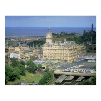 View of the Waverley railroad station, Edinburgh, Postcard