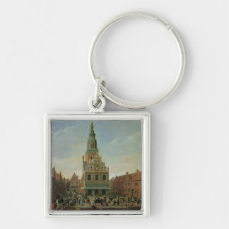 View of the Weighhouse and the Cheese Market Silver-Colored Square Keychain