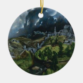 View of Toledo, El Greco Round Ceramic Ornament