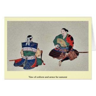 View of uniform and armor for samurai card