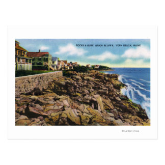 View of Union Bluffs Rocks and Surf at York Postcard