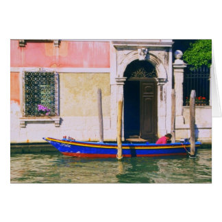 View of Venetian Boat on the Grand Canal Venice Card