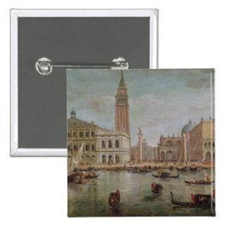 View of Venice, 1719 2 Inch Square Button