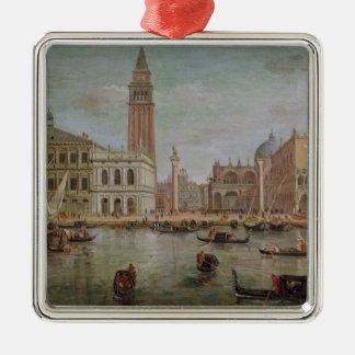 View of Venice, 1719 Silver-Colored Square Ornament