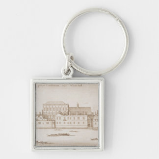 View of Whitehall, 1645 Silver-Colored Square Keychain