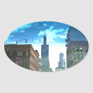 View of Willis Tower Oval Sticker