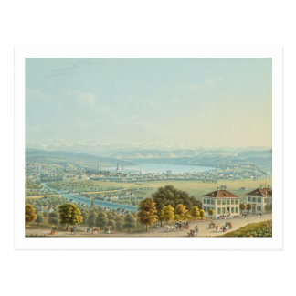 View of Zurich, c.1840 (w/c) Postcard