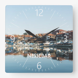 View on famous Bulgarian town Nessebar Square Wall Clock