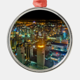 View over Bangkok at night from Baiyoke Tower II Silver-Colored Round Ornament