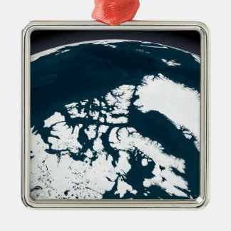 View over Greenland and the Arctic Ocean Silver-Colored Square Ornament