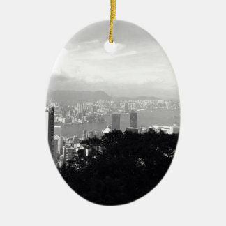 View Over Hong Kong Ceramic Oval Ornament